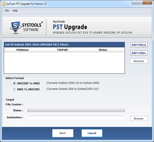 First screen of PST Upgrade