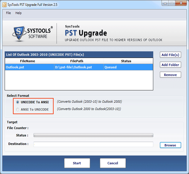Select PST File Format