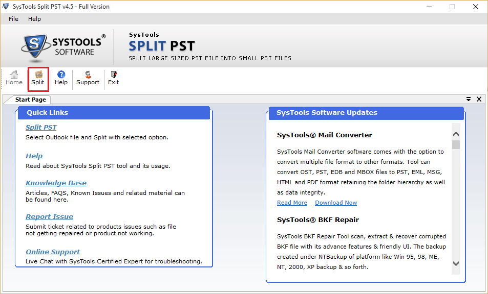 First screen of split PST